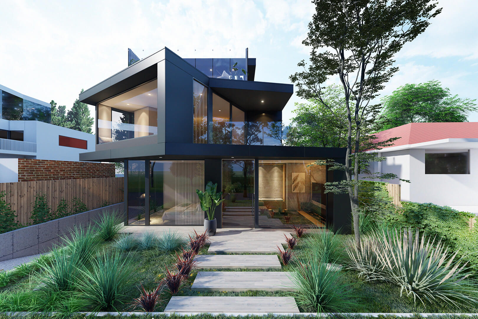 Williamstown Beach House Contemporary black Architecture designed by Sky Architect Studio