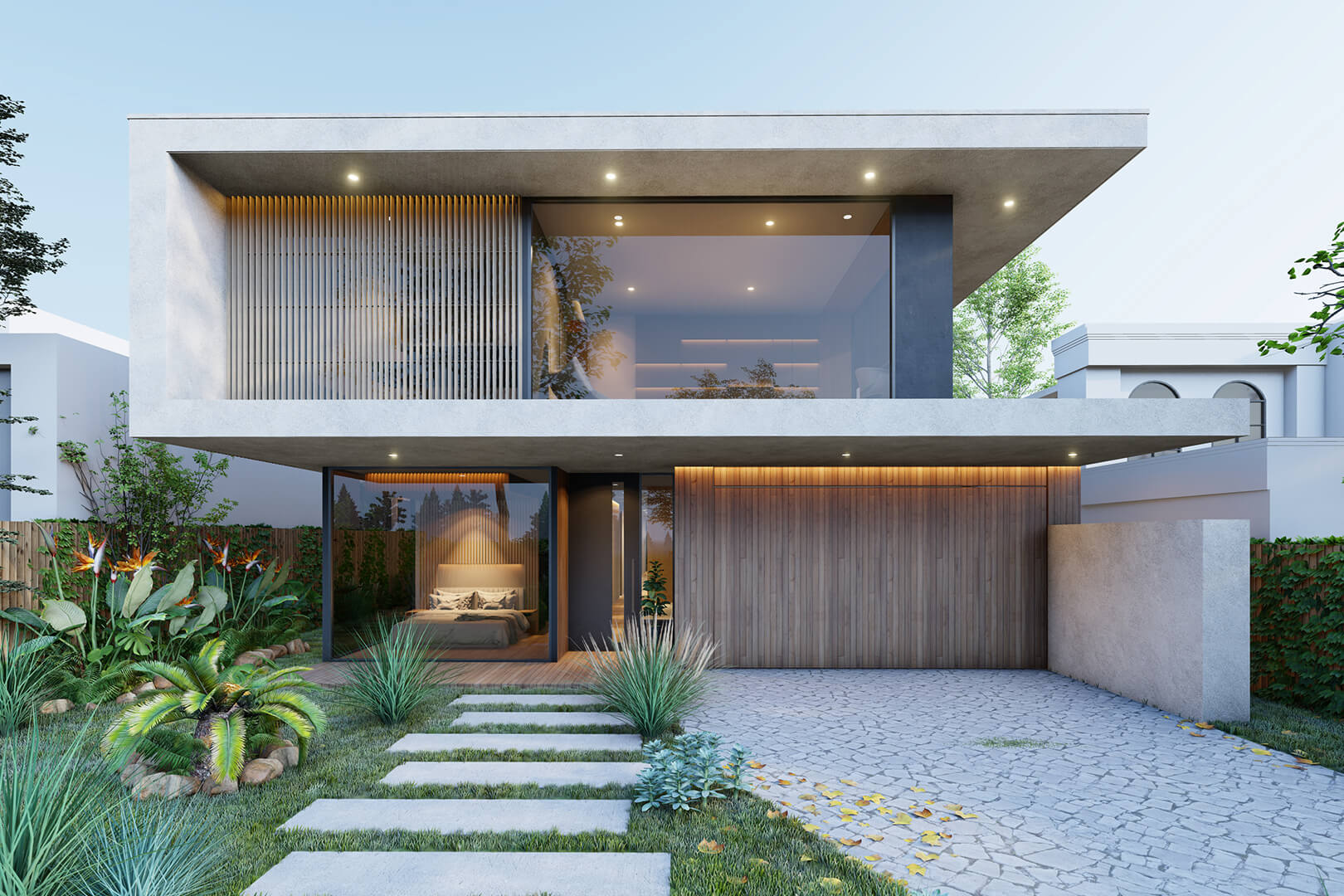Deepdene Modern House minimalist Melbourne architecture designed by Sky Architect Studio. Features concrete material with timber look facade.