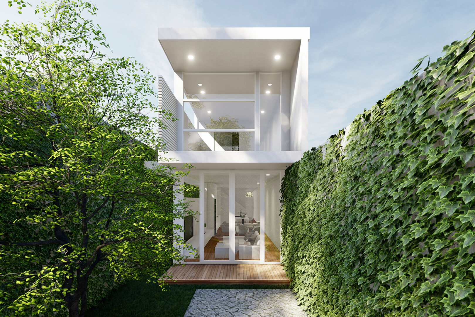 Itty Bitty House in Footscray. Double Storey with rooftop terrace. White weatherboard house. Overlooking Melbourne city skyline. Modern Architecture. designed by Sky Architect Studio