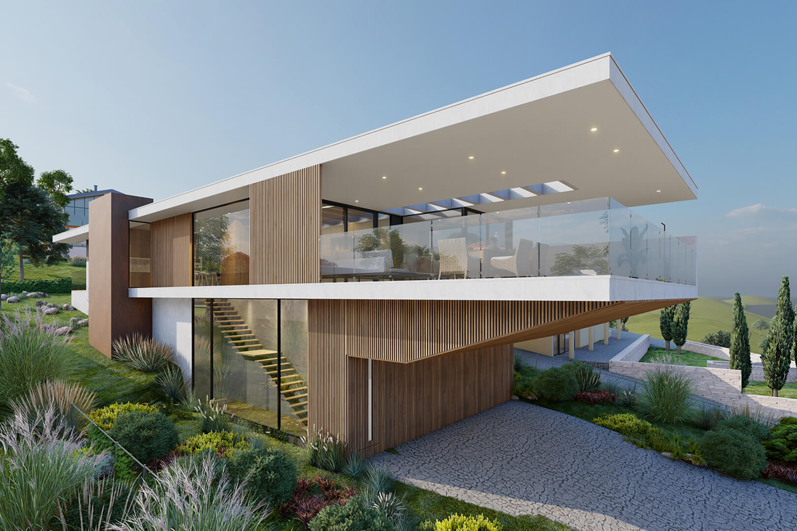 Mount Martha Beach House Modern Architecture in concrete render and timber screening designed by Sky Architect Studio